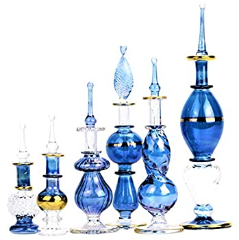 NileCart Egyptian Perfume Bottles All blue 2-5 in Collection Set of 6 Mouth-Blown Decorative Pyrex Glass with Handmade Golden Egyptian Decoration for Perfumes & Essential Oils