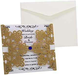 10pcs Elegant Laser Cut Invitation Cards Wedding Birthday Lace Hollow Cardstock |Color - Gold|