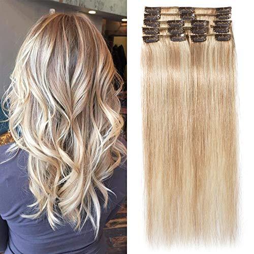 TESS Clip in Extensions Echthaar Haarteile Ombre Remy Haar Extensions guenstig Haarverlängerung 18 Clips 8 Tressen Lang Glatt, 12