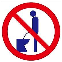 男性トイレマナーステッカー「立ちション禁止円形マーク 特大サイズ」 座りションステッカー #11040