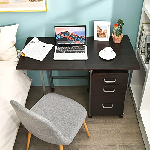 A fold down desk is the perfect home office idea for small spaces