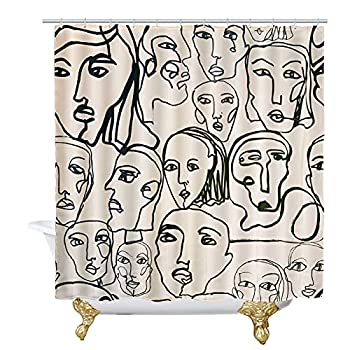8YEARS Modern Abstract Shower Curtain with Hooks Heavy Duty Waterproof Face Shower Curtain Set for Bathroom Polyester Fabric Shower Curtain Line 72x72 Inch 12Hooks