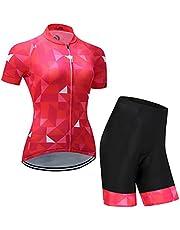 X-Labor Maillot de ciclismo para mujer de manga corta + pantalones cortos con acolchado 3D para el asiento