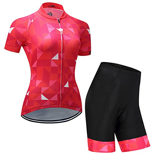 GWELL Maillot Ciclismo Mujer Cclismo Conjunto de Ropa + Culote Pantalones Acolchado...