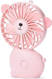 CHwares Mini Ventilador de Mano, Colgantes Ventilador Dela Mano de Banda portátil silencioso Ventilador de refrigeración eléctrico con USB Recargable con Pilas 7 Colores de luz LED 3 Velocidades-Rosa