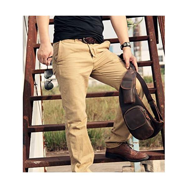 51bLkxXzVIL. SS600  - Leathario Mochila de Pecho Cruzado Cuero Bolso Hombro Bandolera Piel Vintage Grande para Hombres Casual Escolar Viaje