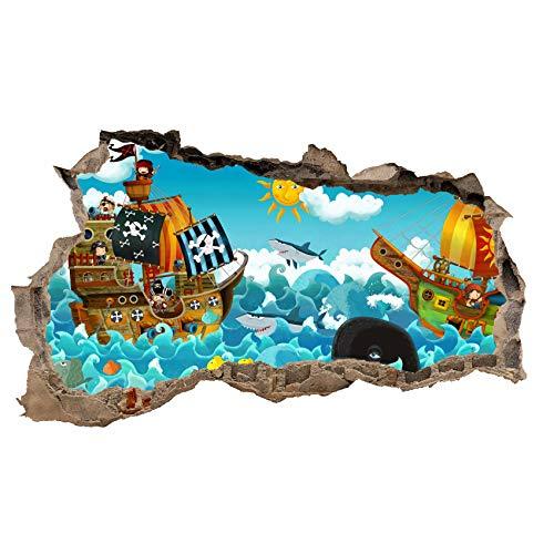 3D Wandtattoo Mauerloch Wandsticker Wandaufkleber Durchbruch Kinder selbstklebend H 60 x B 100 Schlafzimmer Kinderzimmer (WL39 Comic Piraten)