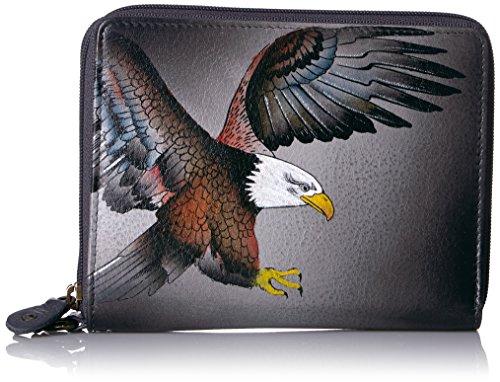 Anna by Anuschka Damen Clutch aus sanftem Leder mit umlaufendem Reißverschluss | handgemaltes Original Artwork | stilvolle und kompakte Handtasche | American Eagle
