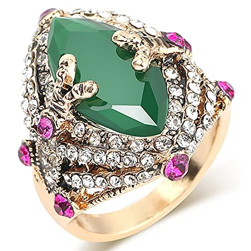 Ezzyso Anillo de Ojos de Caballo, Estadounidense Retro Emeralda Personalidad Anillo de aleación Joyería (2 Piezas),7