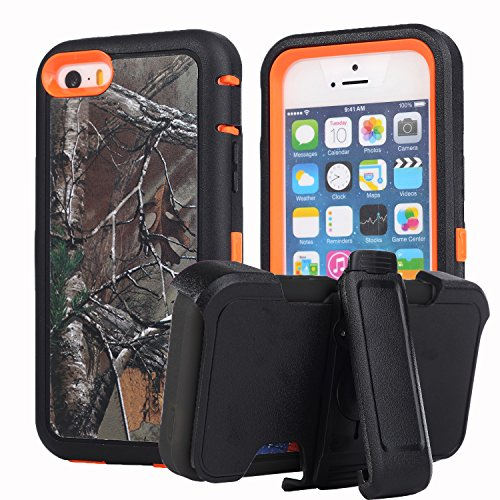 Harsel for iPhone 5c,Shockproof Rugged Heavy Duty Armor Defender Hybrid Protective Cover Case with Belt Clip Holster Built-in Screen Protector Camo Pink Tree/Forest/Grass/Leaves 5C(Xtra Orange)