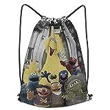 Sesame Street School Sports Bag Drawstring Backpack Waterproof Gym Big School Bag Daily Rucksack Travel Swimming Bag Children Girls Boys Students Drawstring Strap Pack