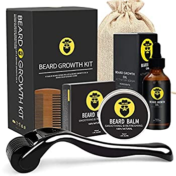 Beard Growth Kit - Derma Roller for Beard Growth Beard Growth Serum Oil  2oz  Beard Balm and Comb Stimulate Beard and Hair Growth - Gifts for Men Dad Him Boyfriend Husband Brother