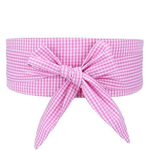 HaiDean Elegante Y Práctico El Formato Casual Modernas De Regazo Cinturón De Cuadrícula Tema Carenado Falda Cintura Sellado Tela Pajarita Camisa Corbata Marea (Color : Rosa, Size : One Size)