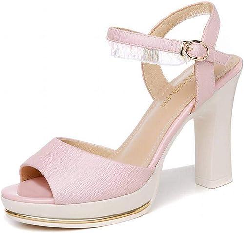 LTN Ltd - sandals Un Mot avec des Sandales épaisses, Fée Féminine, Chaussures de Mode pour Femmes D'été, Chaussures de Femme, Rose, 35