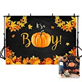 MEHOFOTO Autumn It's A Boy Baby Shower Photography Backdrops Props Pumpkin Maple Leaves Party Prince Baby Shower Decoration Black Gold Fall Photo Studio Booth Background Banner 7x5ft