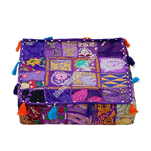 Handicraft Bazarr Funda de cojín vintage con diseño de retazos de algodón, con borlas, para sofá, de 45,7 x 45,7 x 15,7 cm