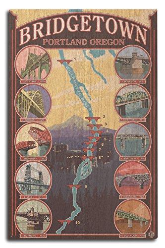 Lantern Press Portland, Oregon - Bridges of Portland (10x15 Wood Wall Sign, Wall Decor Ready to Hang)