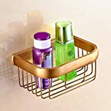 Brushed Copper Bath Hardware Sets Towel Holder Tissue Holder Make-Up Table Toilet Brush Toothbrush Cup Bathroom Accessories Set,Basket