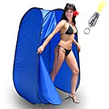 Pop-Up Room in a Bag Instant Portable Changing Room with Dura-light Steel Frame and Weather-Resistant Material for Camping, RV, Shower, Outhouse, Bathroom, and more! Included Tie-Down Kit and Keychain Flashlight