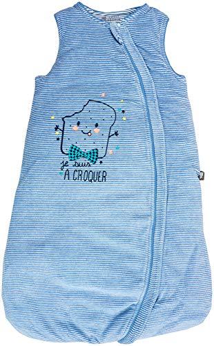 Petit Béguin - Baby Jungen Winter Schlafsack mitwachsend Streifen Blau Gr. 68-86 cm (6/18M)