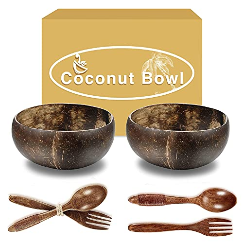 Coconut Bowls With Wooden Spoons, Wooden Forks, Each 2, Smoothie Bowls, Salad Bowls, Hand Made Crafts, candle bowls,Good Gift for Salad Smoothie Breakfast. Wooden Bowls Set for Nuts..