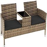 TecTake Salon de Jardin en résine tressée canapé Banc avec Table intégrée avec Verre de sécurité + Coussins - diverses Couleurs au Choix - (Marron Naturel | No. 403783)