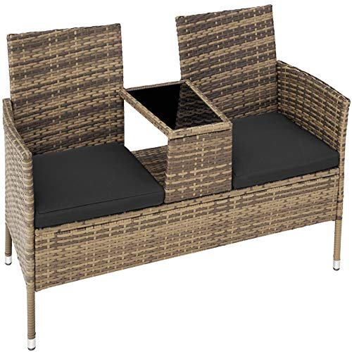 TecTake 403783 Polyrattan Gartensitzbank mit Tisch, 2-Sitzer, für Garten, Balkon und Terrasse, Füße aus Kunststoff, Gartenbank inkl. Sitzkissen, Natur