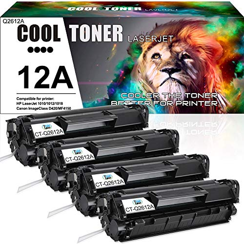 Cool Toner Compatible Toner Cartridge Replacement for HP 12A Q2612A Canon 104 FX-10 FX-9 Toner for HP Laserjet 1020 1018 1012 1022 Canon ImageClass MF4150 MF4270 MF4350d MF4370dn D420 D480 Printer-4PK