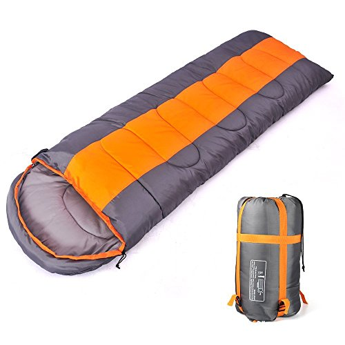 Camping saco de dormir, sobre 3 temporada saco de dormir con capucha, interior y al aire libre adulto saco de dormir de invierno para mochila senderismo viajes (1.8kg,Orange/Grey)
