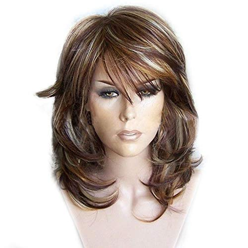 Chenzinan Brown Longue Perruque ondulée avec Air Bangs Silky-Dames Choisissez Dyed Court Cheveux bouclés Micro Long Rouleau Perruque Coiffures (Color : Photo Color, Size : 35cm)