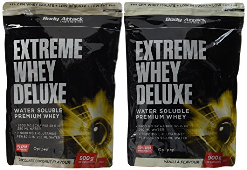 Body Attack Extreme Whey Deluxe, Chocolate-Coconut + Vanille, 1800 g, 2 Stück