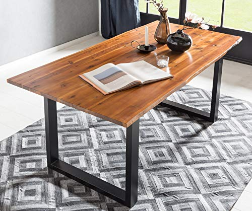 SalesFever Baumkanten-Tisch 160 x 85 cm | Cognac-Farben | Esszimmertisch aus massiver Akazie | Holz-Tisch mit schwarz lackiertem U-Gestell aus Metall