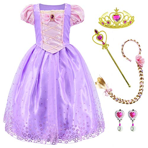Princess Costume Dress for Girls Party Dress Up with Braid,Earings,Tiaras & Wand 6-7 Years Light Purple