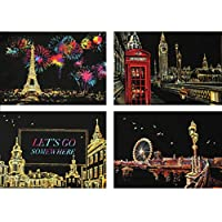 Langaelex スクラッチアート7個セット, 4枚200 x 140MM はがきサイズ ヨーロッパの有名な観光スポット, 金属1本+竹1本 専用スクラッチペン +黑1本刷毛 封筒包装 (ヨーロッパ)