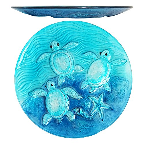 Comfy Hour Under The Sea Collection 13' Decorative Three Turtles Sea Snail Conch Starfish Pattern Glass Plate, Dishwasher Safe, Blue
