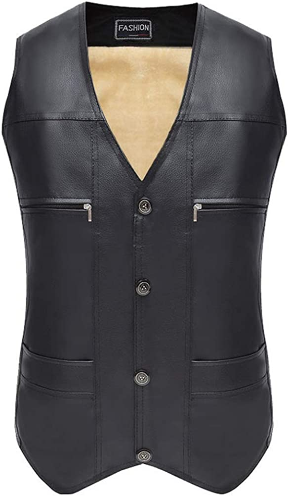 Gihuo Men's Fitted Faux Leather V Neck Fleece Lined Formal Vest Waistcoat