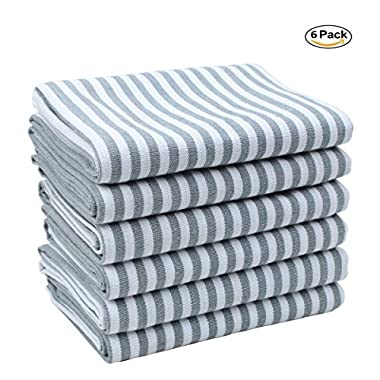 Kitchen Towels set 6 Pack of Pure Cotton Kitchen Dish Cloths Towels, Tea Towels, Machine Washable, Ultra Absorbant Hand Towels Set by Jennice House (Grey Stripe)