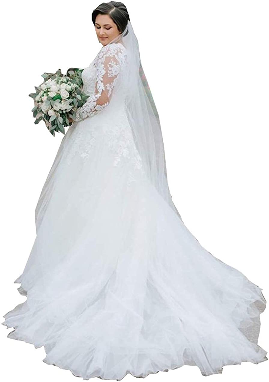 Plus Size Long Sleeve Applique Lace Wedding Dress with Church Train Bridal Gown for Women Bride