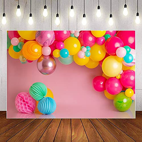 Fondo Colorido Globo Princesa cumpleaños niña Baby Shower Fiesta Retrato telón de Fondo Accesorios de Estudio fotográfico A1 10x7ft / 3x2,2 m