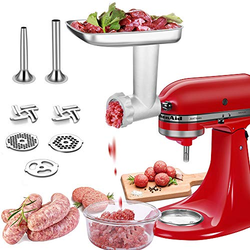 Stainless steel Food Grinder Attachments for Kitchenaid Stand Mixers with 2 Sausage Stuffer Tubes & 4 Grinding Plates to Work as Meat Processor