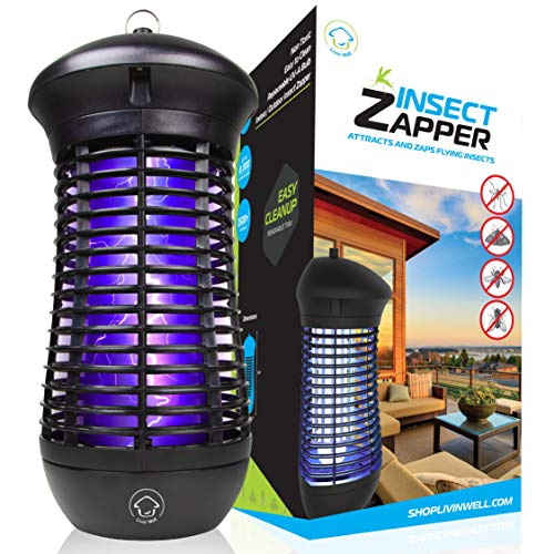 Livin' Well Bug Zapper - 4000V High Powered Electric Mosquito Zapper, Fly, Mosquito Trap with 1,500 Sq. Feet Range and 18W UVA Mosquito Killer Bulb