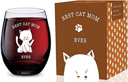 discount Stemless Wine Glass (Best Cat Mom discount Ever) Made of Unbreakable Tritan Plastic and Dishwasher popular Safe - 16 ounces outlet online sale