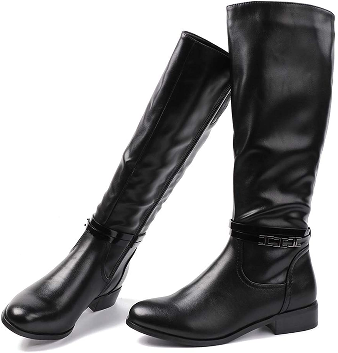 Gcanwea Fashion Ladies Soft Leather Boots Woman Black Zip Warm Fur Thigh High Boots Winter Knee High Boots Leather Joker Comfortable Rubber Sole Dress Sexy Fashion Dexterous Sweet Black 7 M US Boots