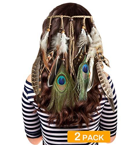 Zwini 2 Stks Pauw Veer Hoofdband Bohemen Haarband Indische Hippie Hoofdstuk Gevlochten Kleurrijke Kralen Hoofddeksels Haaraccessoires Decoratie voor Festival Masquerades, Vakantie, Feest, Cosplay