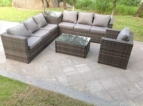 Fimous 7 Seater Grey Rattan Sofa Set 2 Coffee Table Chair Outdoor Garden Furniture