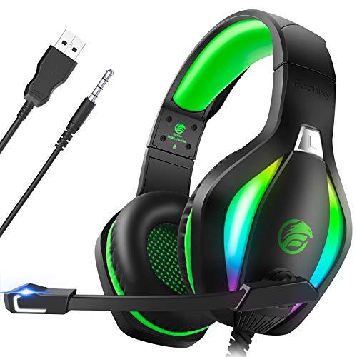 Fachixy Cuffie Gaming per PC, PS4, PS5, Xbox One, Switch con Luce RGB, Cuffie da Gaming con Eliminazione del Rumore con Microfono, Cuffie da Gioco Stereo Surround con Filo, per Jack da 3,5MM, Verde