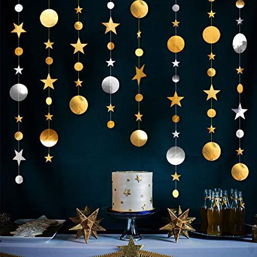 Zeagro Papiergirlande, Partydekorationsset, 3D-Papierkreise, Girlande für Geburtstag, Babyparty, Hochzeit, Silvester, Kinderzimmer, Vitrine mix