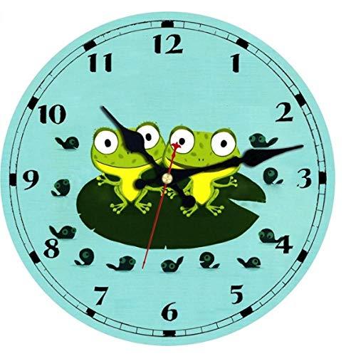 MINGKK Reloj de pared de madera, diseño de dibujos animados, reloj de pared, silencioso, para habitación de los niños, decoración de pared, regalo de 30 cm