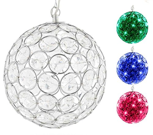 Hoont Outdoor Hanging Decorative Sparkling Crystals Gazing Ball with Solar Powered Color Changing LED Light – 6 Inch Diameter