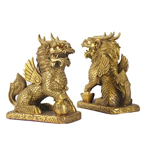 XIE Feng Shui Chi Lin  Kylin   Qili Feng Shui unicornio estatua de latón para decoración del hogar, juego de dos atraen la riqueza y la buena suerte de la riqueza (pareja grande – 4.3 x 2.7 x 4.7 cm)